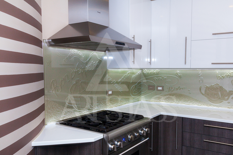 the smooth clean lines of the glass create a stylish look giving a kitchen that wow factor glass is cut to shape the contours of fitted units - Glass Kitchen